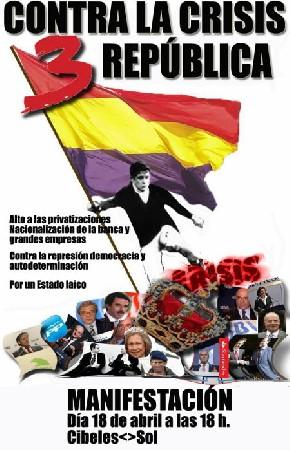 Manifestación 18 de Abril 18H Cibeles-Sol: 3a República