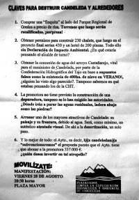 Panfleto informativo repartido en la manifestación.